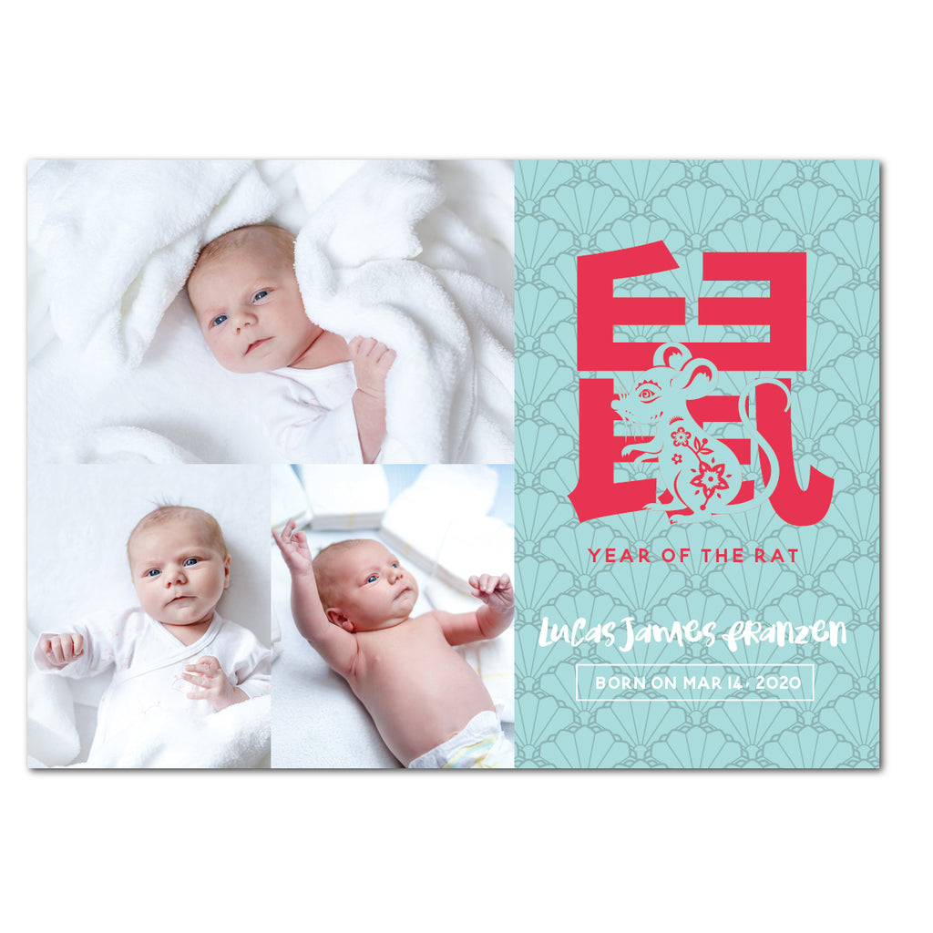 Oriental Rat | Birth Announcements by Blank Sheet