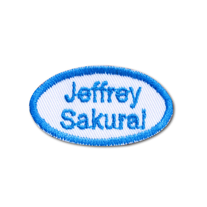 Embroidered name patch oval