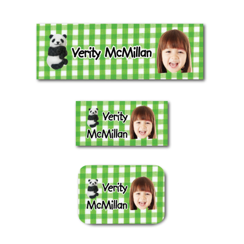 Panda and checkers with photo name labels