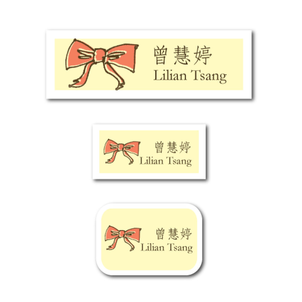 Peach bow name labels