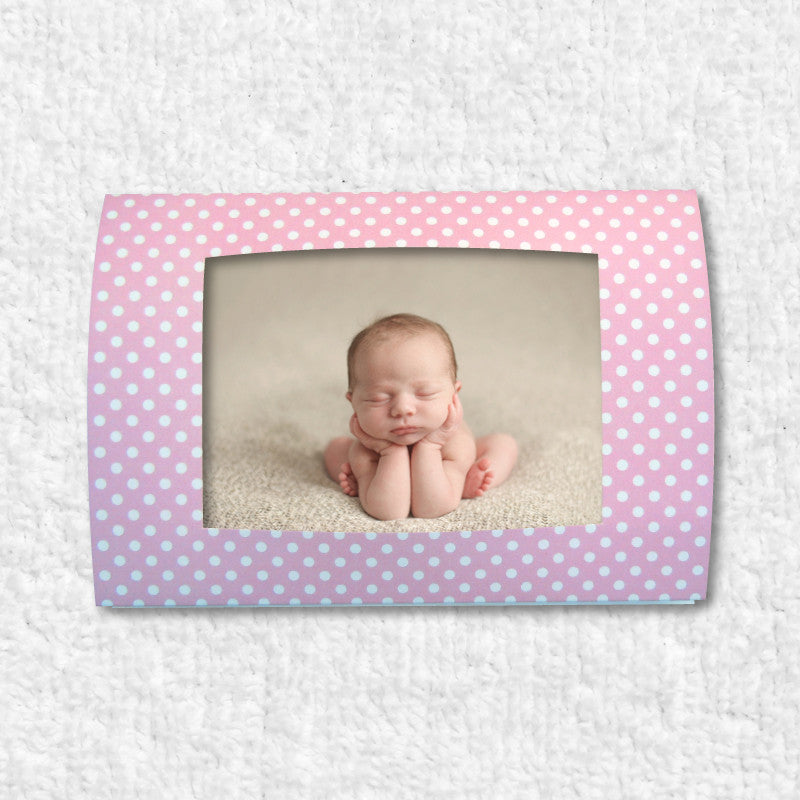 Photo-insert birth announcements (Pink)