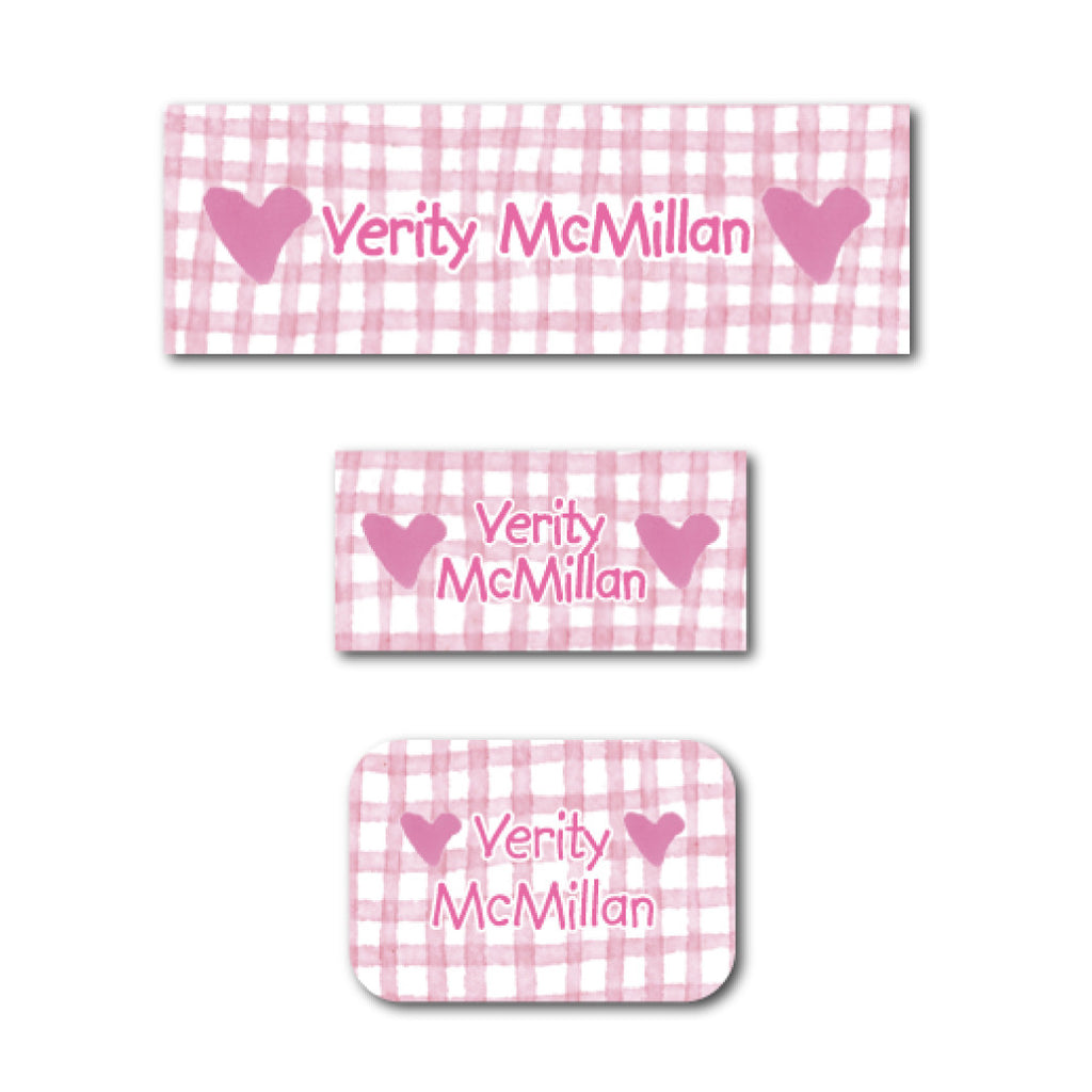 Pink hearts and checkers name labels