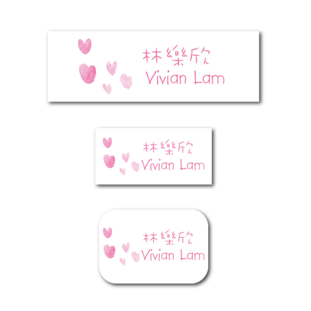 Pink hearts name labels