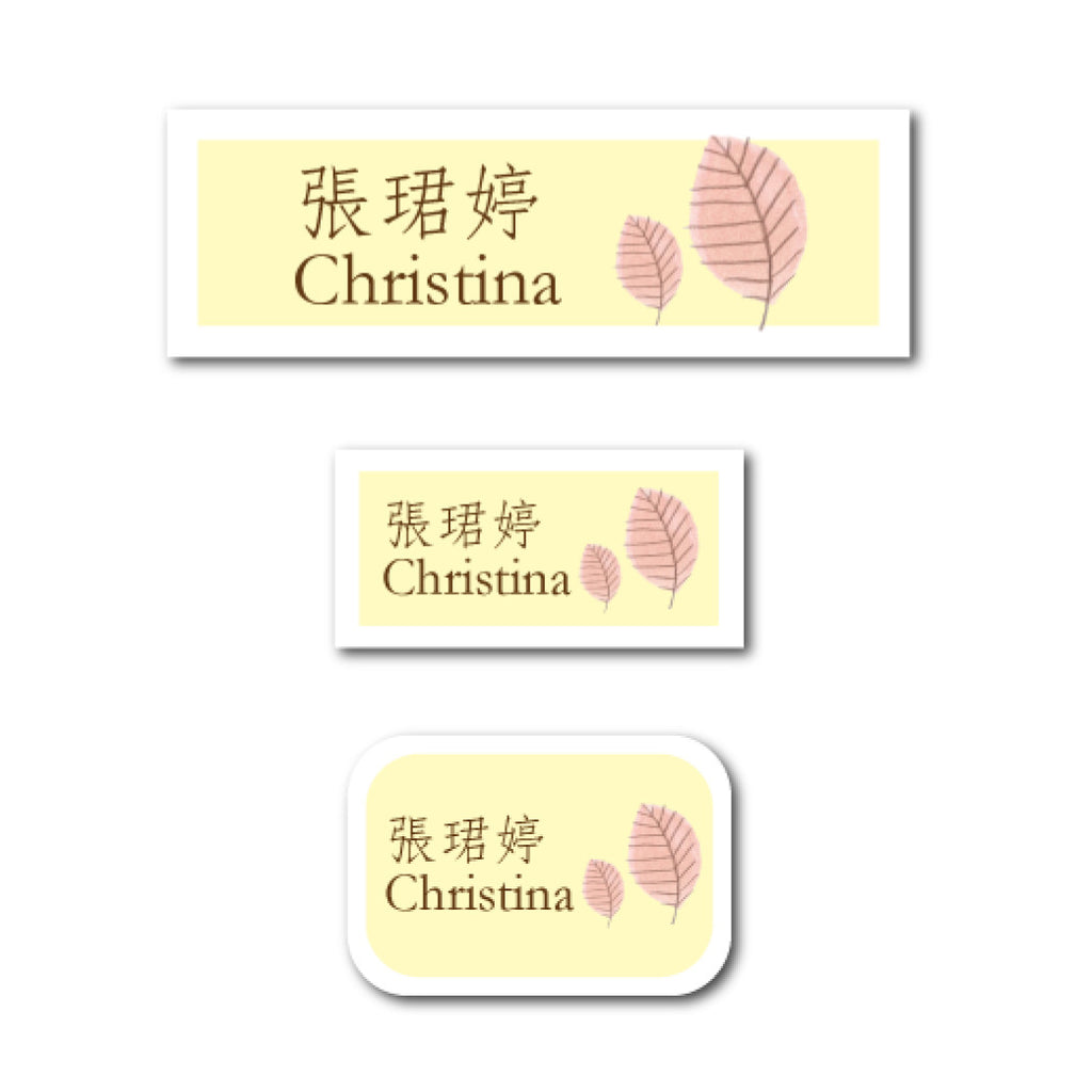 Pink leaves name labels