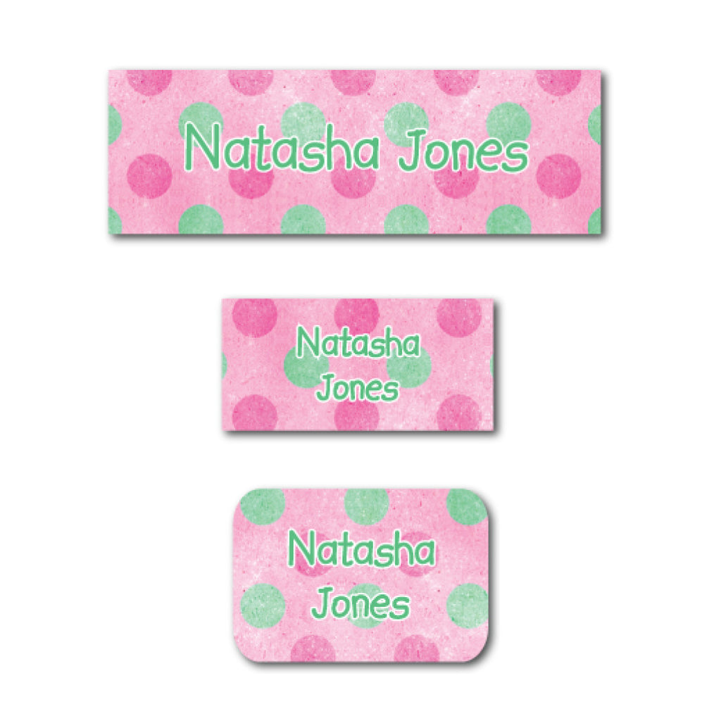 Pink polka dots name labels