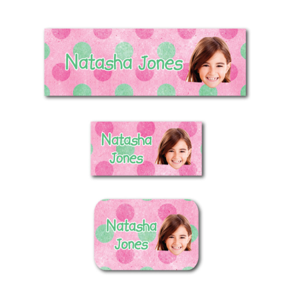 Pink polka dots with photo name labels
