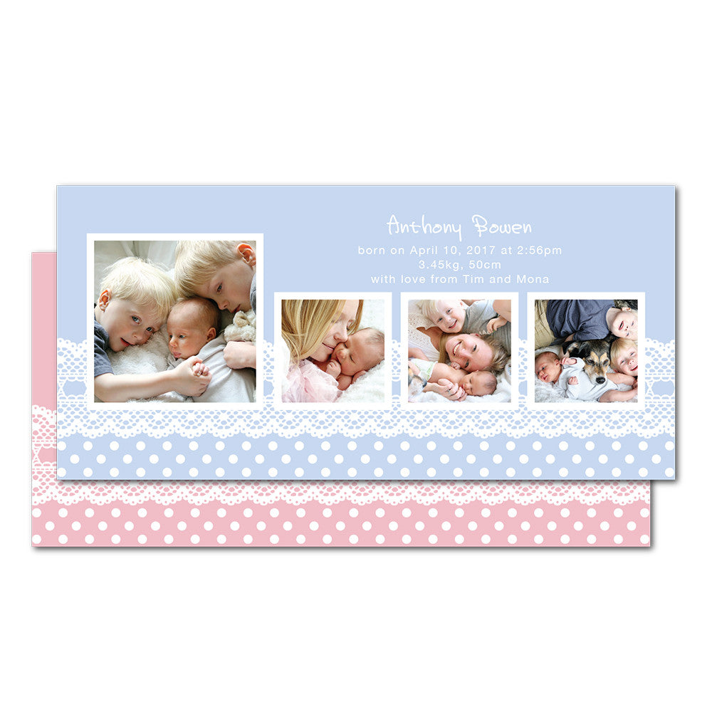 Polka Dots Lace Birth Announcements