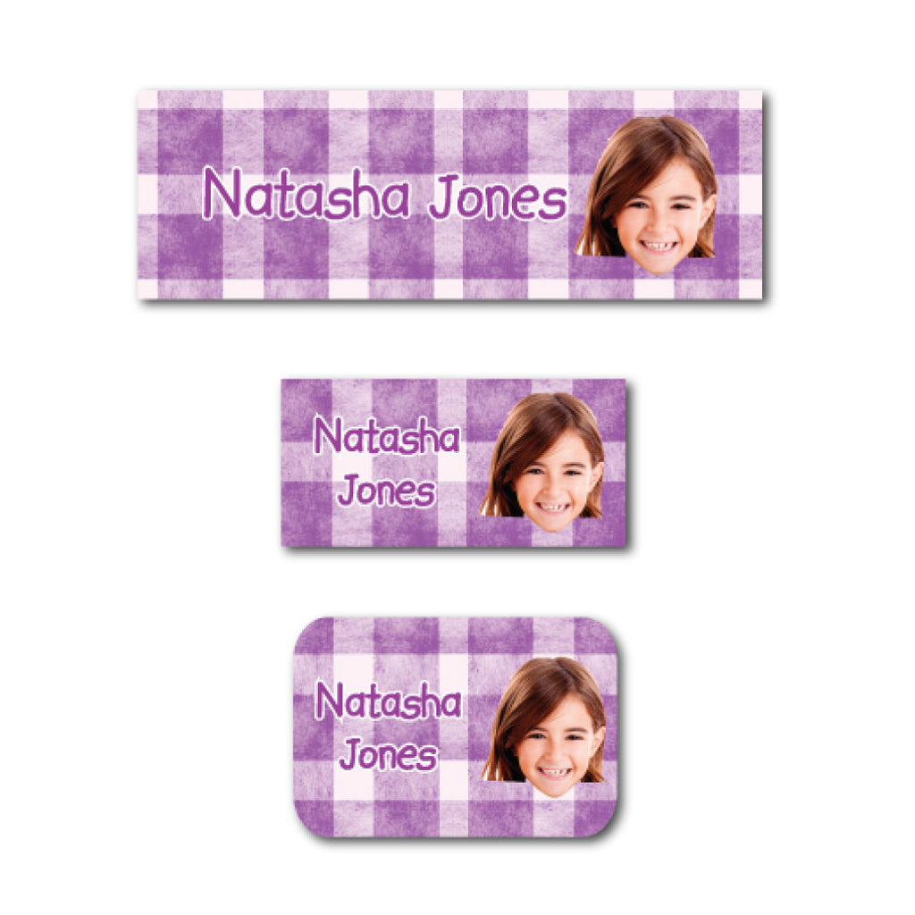 Purple checkers with photo name labels