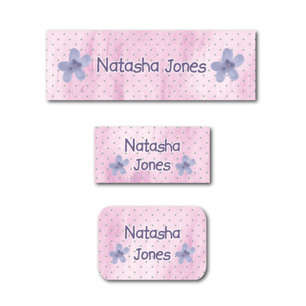 Purple flowers name labels