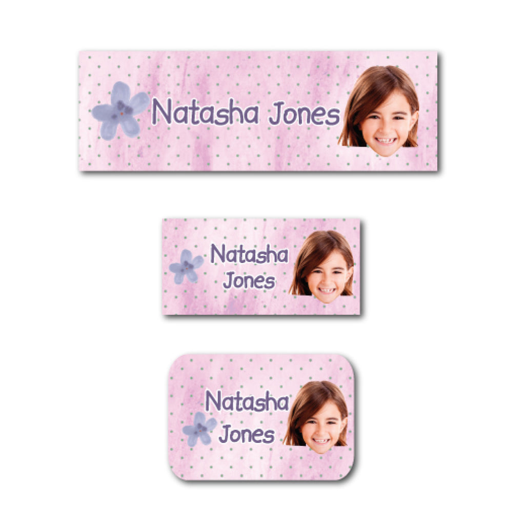 Purple flower with photo name labels