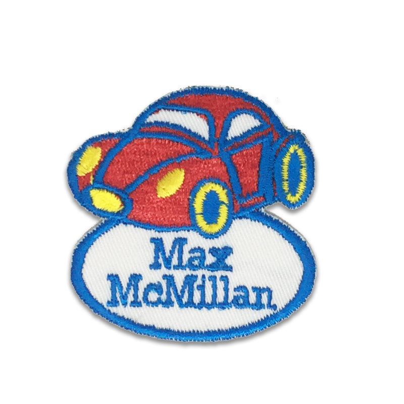 Race car embroidered name patches | Iron-on & Sew-on | Blank Sheet
