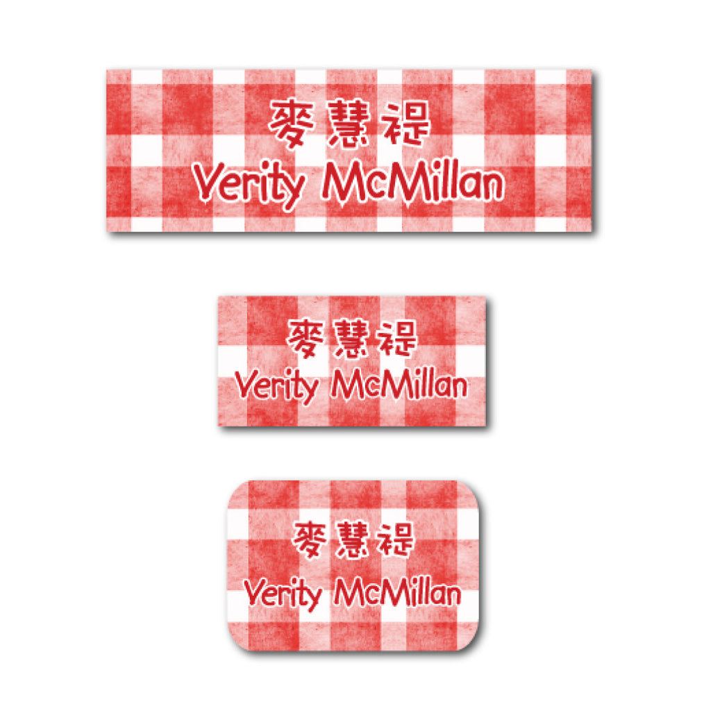 Red checkers name labels