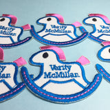 Rocking horse embroidered name patches | Iron-on & Sew-on | Blank Sheet