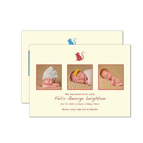 Three Moments with Rat | Birth Announcements by Blank Sheet