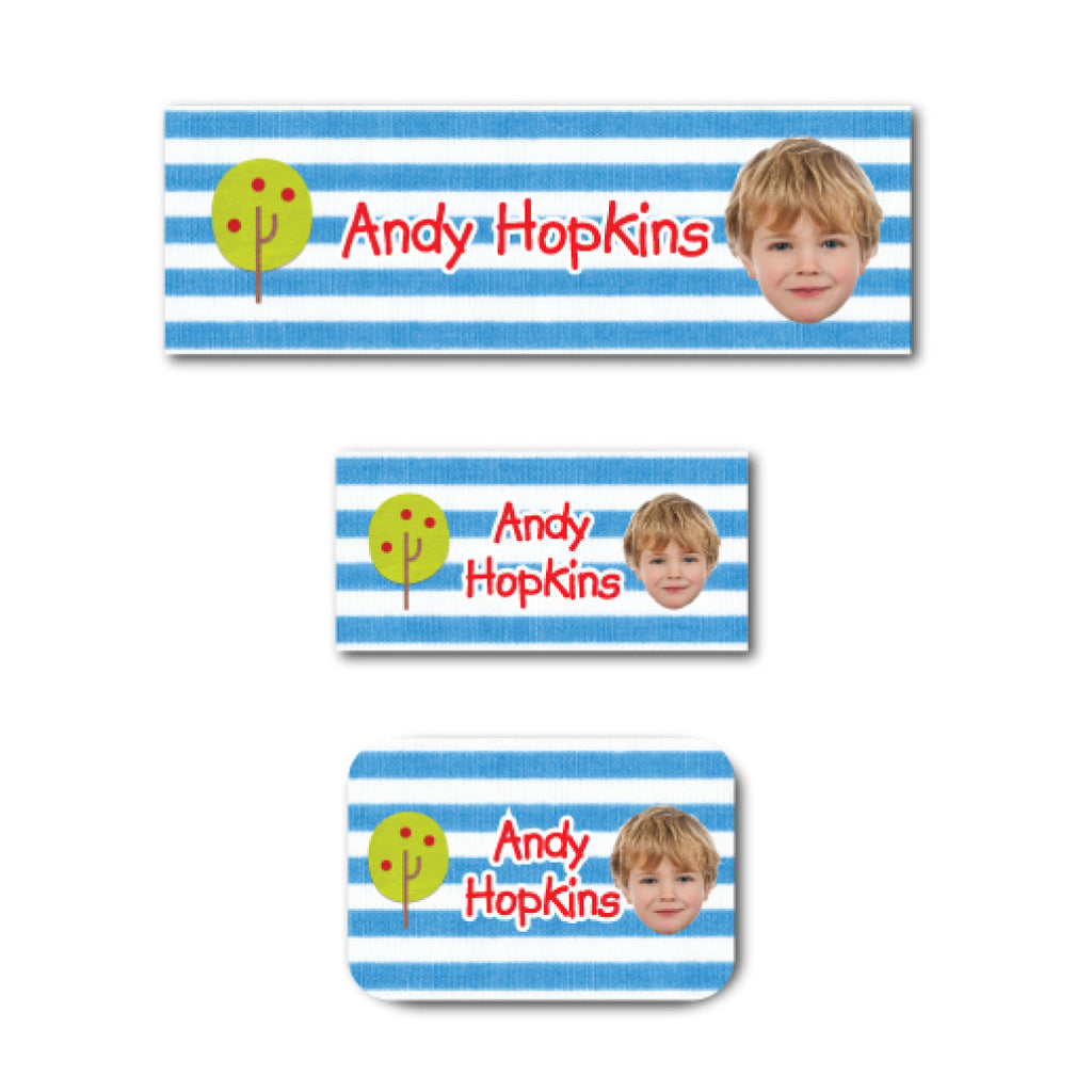 Apple tree with photo name labels