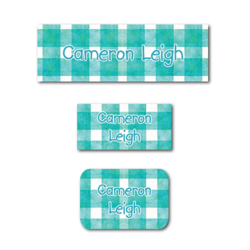 Turquoise checkers name labels