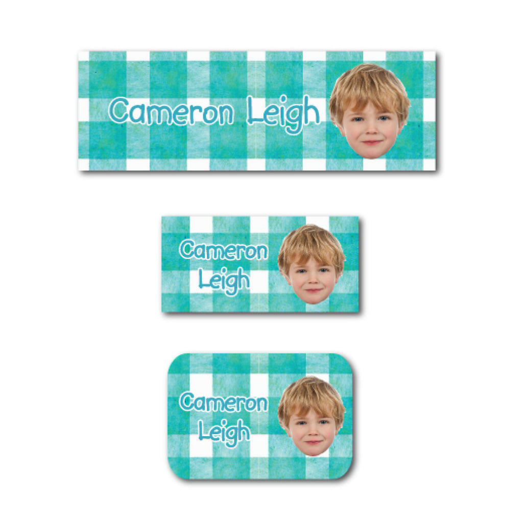 Turquoise checkers with photo name labels