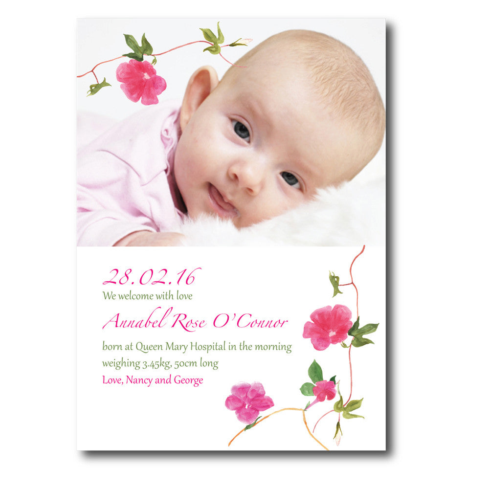 Watercolor Flower Birth Announcements