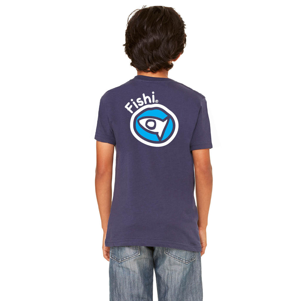 Round Logo Youth Navy T