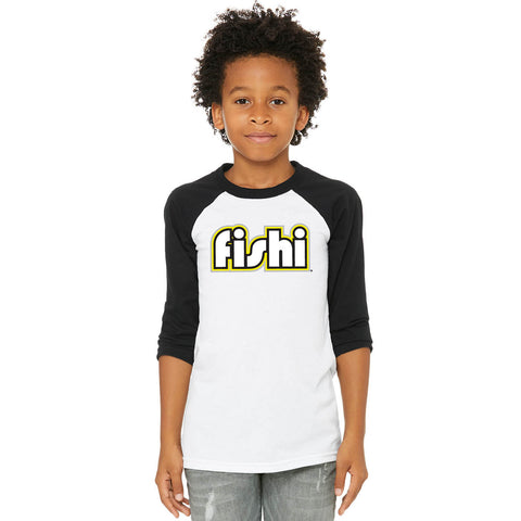 3/4 Youth Black / White T