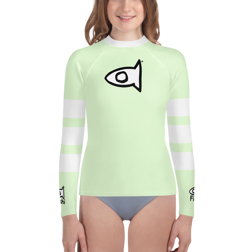 Stripe Youth Light Green Rash Guard