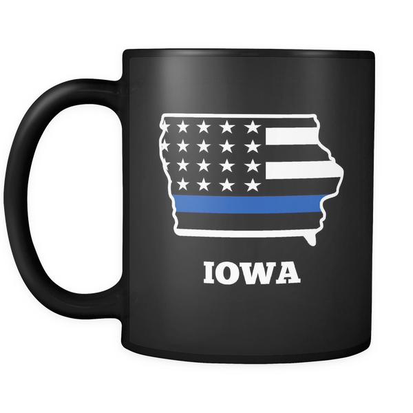 Thin Blue Line Iowa Police Mug - Blue Angel Coffee