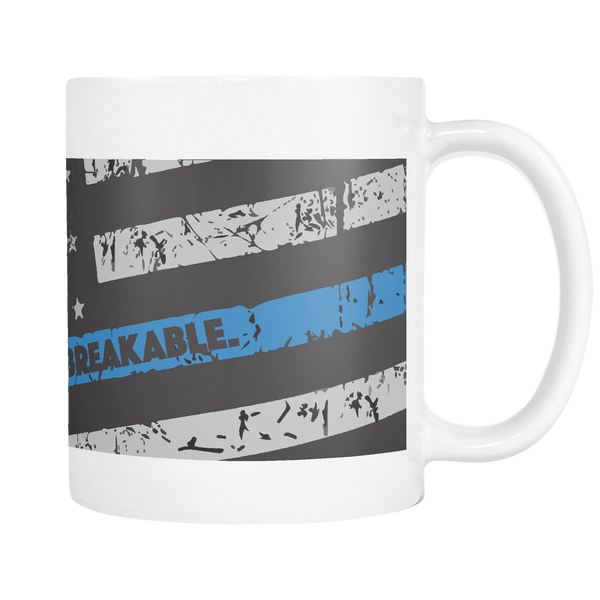 """Unbreakable"" Thin Blue Line Coffee Mug - Blue Angel Coffee"