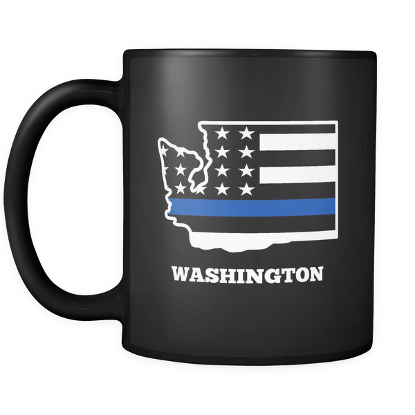 Thin Blue Line Washington Police Mug