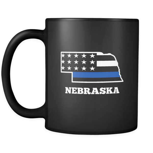 Thin Blue Line Nebraska Police Mug - Blue Angel Coffee
