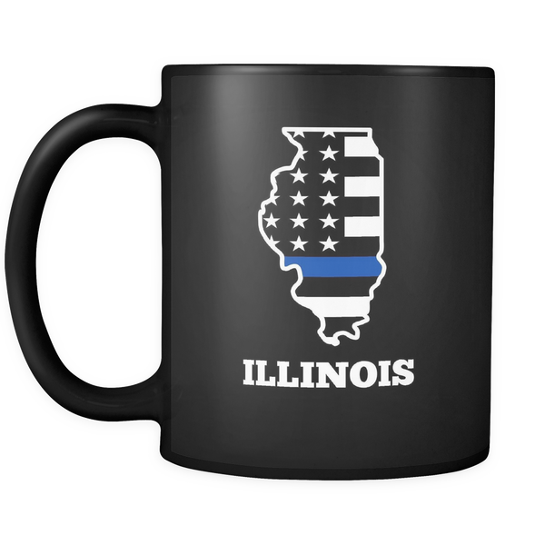 Thin Blue Line Illinois Police Mug - Blue Angel Coffee