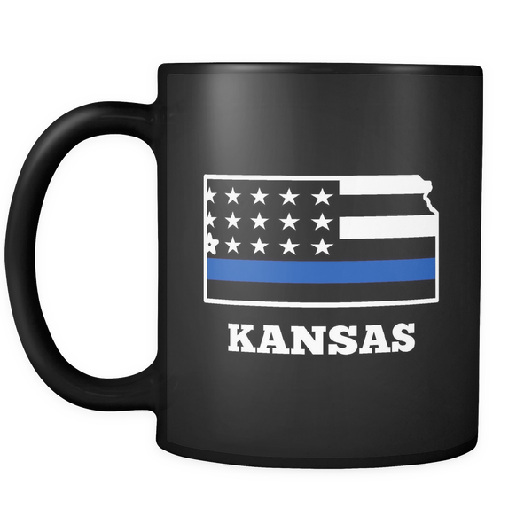 Thin Blue Line Kansas Police Mug - Blue Angel Coffee