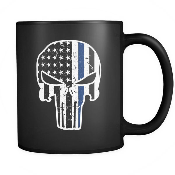 Thin Blue Line Punisher Style Mug - Blue Angel Coffee