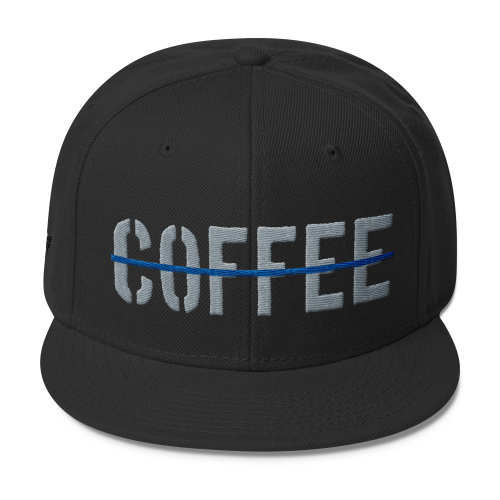 Thin Blue Line Coffee Wool Blend Snapback - Blue Angel Coffee 2f11be361ce