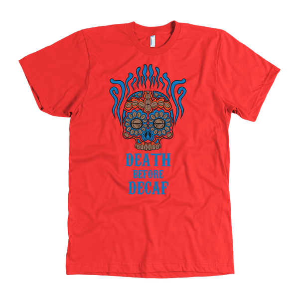 Death Before Decaf T-Shirt Light Blue, Brown and Red - Blue Angel Coffee