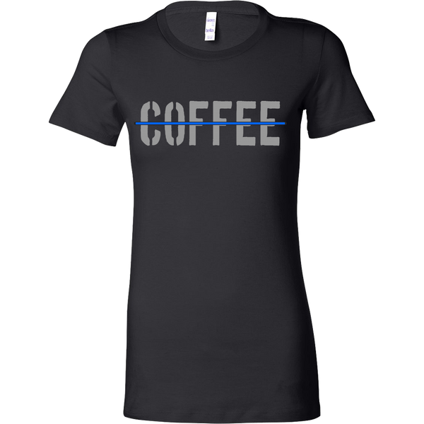 Womens Thin Blue Line Coffee T-Shirt - Blue Angel Coffee