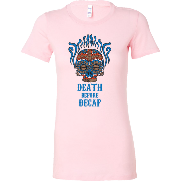 Death Before Decaf Womens Cut T-Shirt Light Blue and Red - Blue Angel Coffee