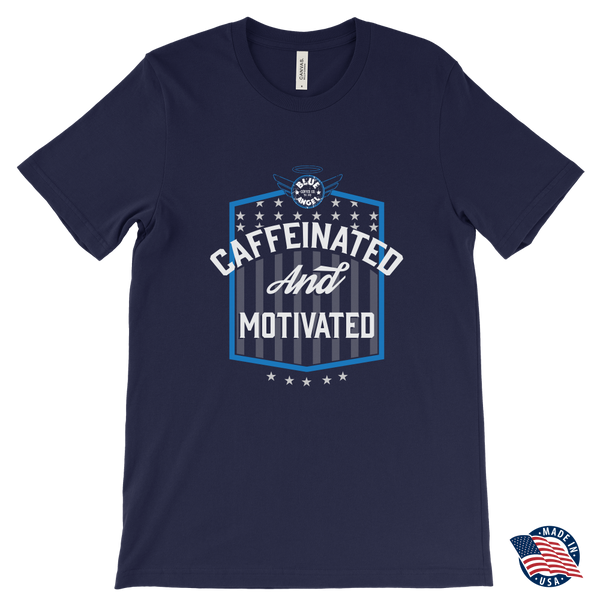 Caffeinated and Motivated T-shirt - Blue Angel Coffee