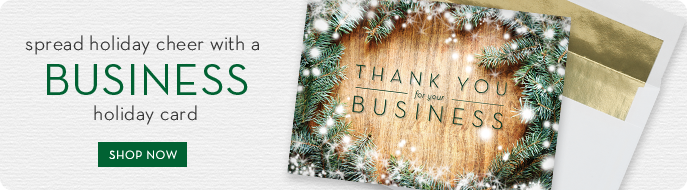 custom printed holiday business cards from ria's hallmark via birchcraft studios