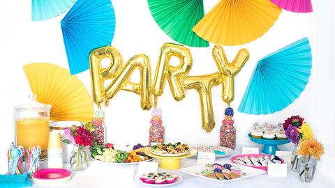party supplies and wrapping paper