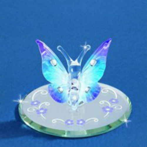 Glass Baron Butterfly, Blue With Crystals - Ria's Hallmark & Jewelry Boutique
