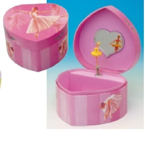 "Music Box Kingdom Ballerina Jewellry Box In Heart Shape ""Entertainer"""
