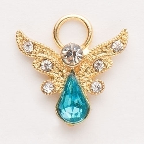 Roman Birthstone Angel Pin March Aquamarine