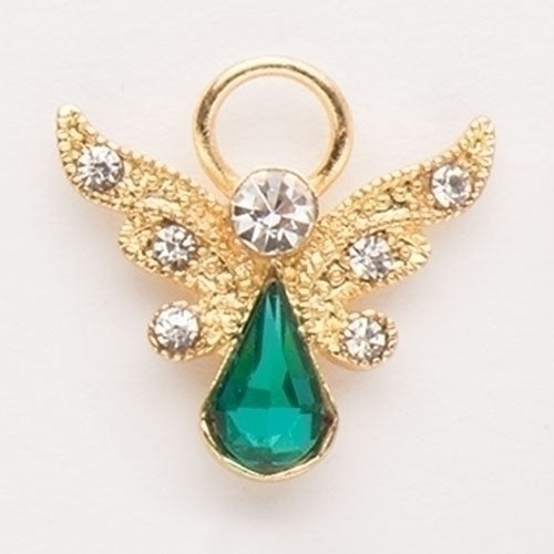 Roman Birthstone Angel Pin May Emerald