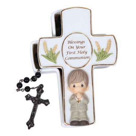 Precious Moments Blessings On Your First Holy Communion Boy Covered  Box With White Rosary - Ria's Hallmark & Jewelry Boutique