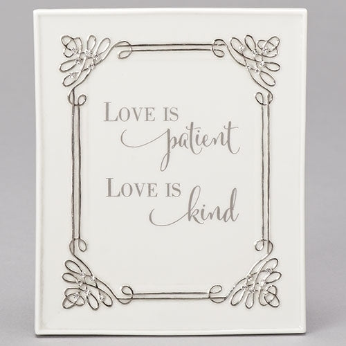 "Roman Wall Plaque ""Love is Patient, Love Is Kind"""