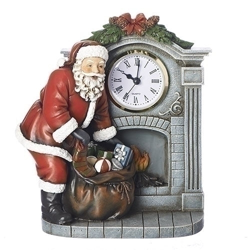 "Roman 8"" Santa By Fireplace With Clock Figure"