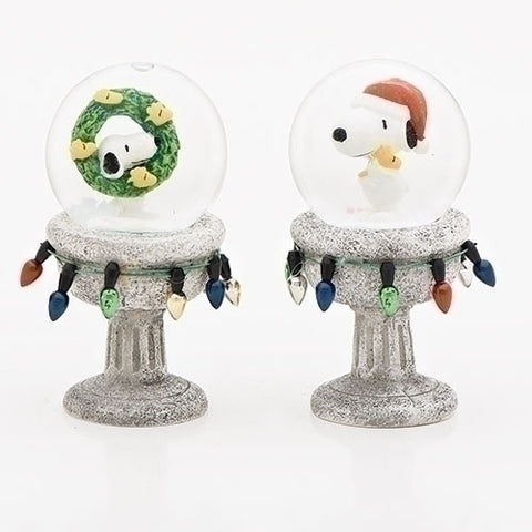 "Roman Set of 2 3.5""Snoopy With Woodstock Pedestal Glitterdomes 45MM"