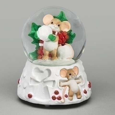 "Charming Tails 5.75"" Mouse Glitterdome Holly Snowy Fun For Everyone"