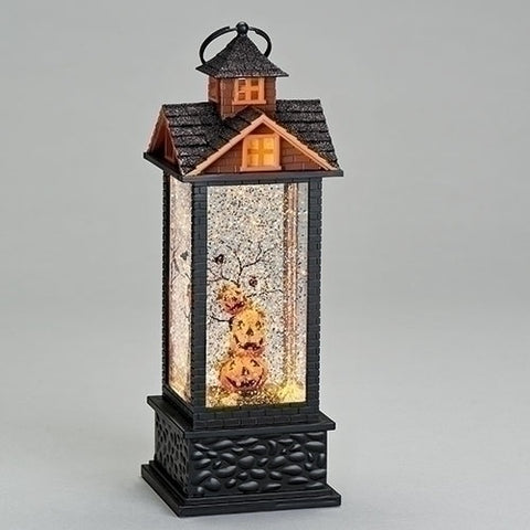 Roman LED Halloween swirl lantern with pumpkins