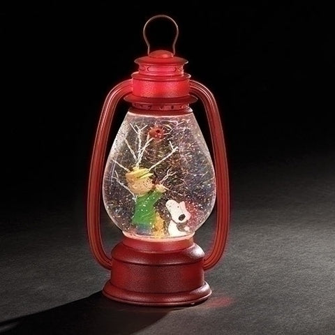 "11"" LED Charlie Brown & Snoopy Swirl Lantern Waterglobe"
